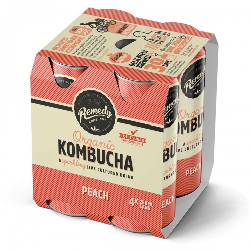 REMEDY ORGANIC KOMBUCHA - PEACH - 4X250ML