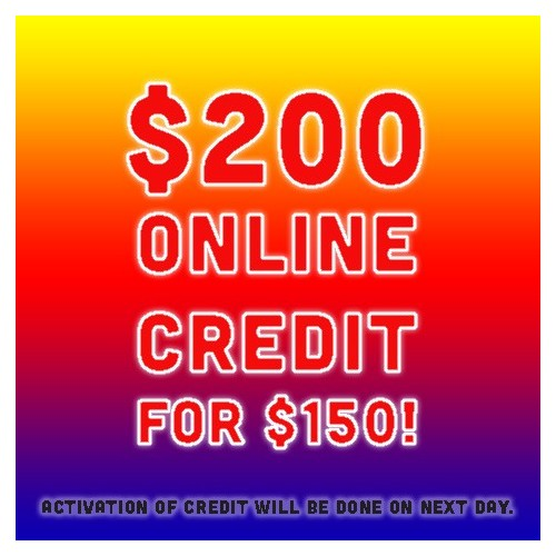 Cyber Monday 26 Nov  Special: $200 CREDIT AT $150 !